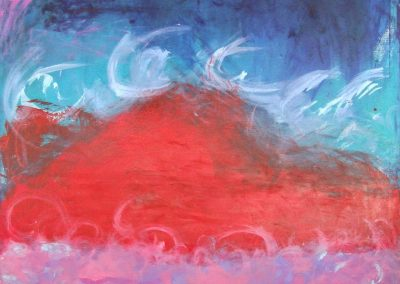 painting of dark sky with a red mountain