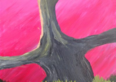 abstract painting of tree trunk and fuchsia sky