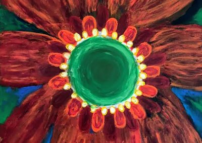 painting of a giant brown and green flower