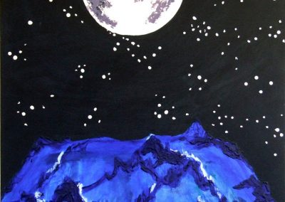 painting of mountains and moon at night