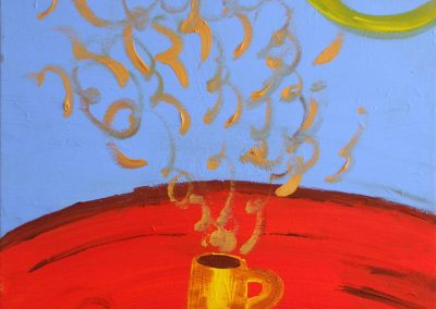 painting of tea cup with yellow steam