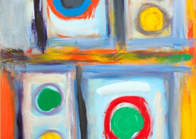 painting of abstract, colorful squares
